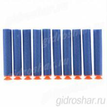 Мягкие пули с присосками для пистолетов и автоматов синие, 10 шт