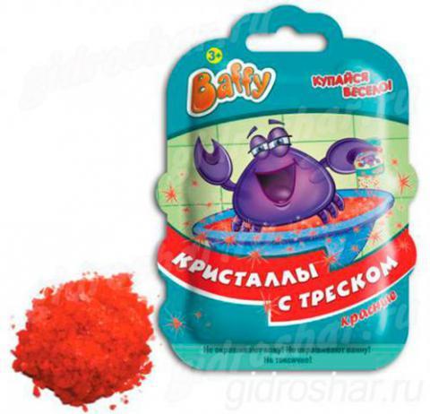 Кристаллы с треском Baffy для ванны, красные